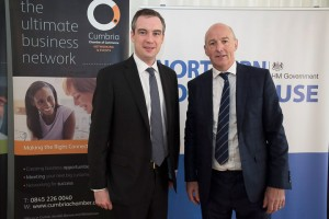 John with James Wharton MP, Northern Powerhouse Minister at a Chamber of Commerce breakfast in Carlisle